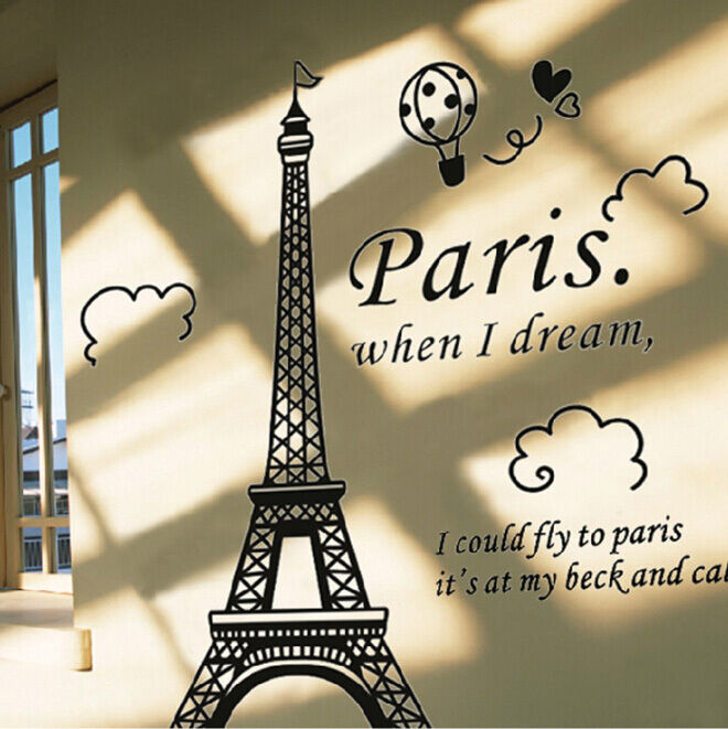 Black Removable Wallpaper Paris Eiffel Tower Black Diy Vinyl Art Decal Mural Fashion