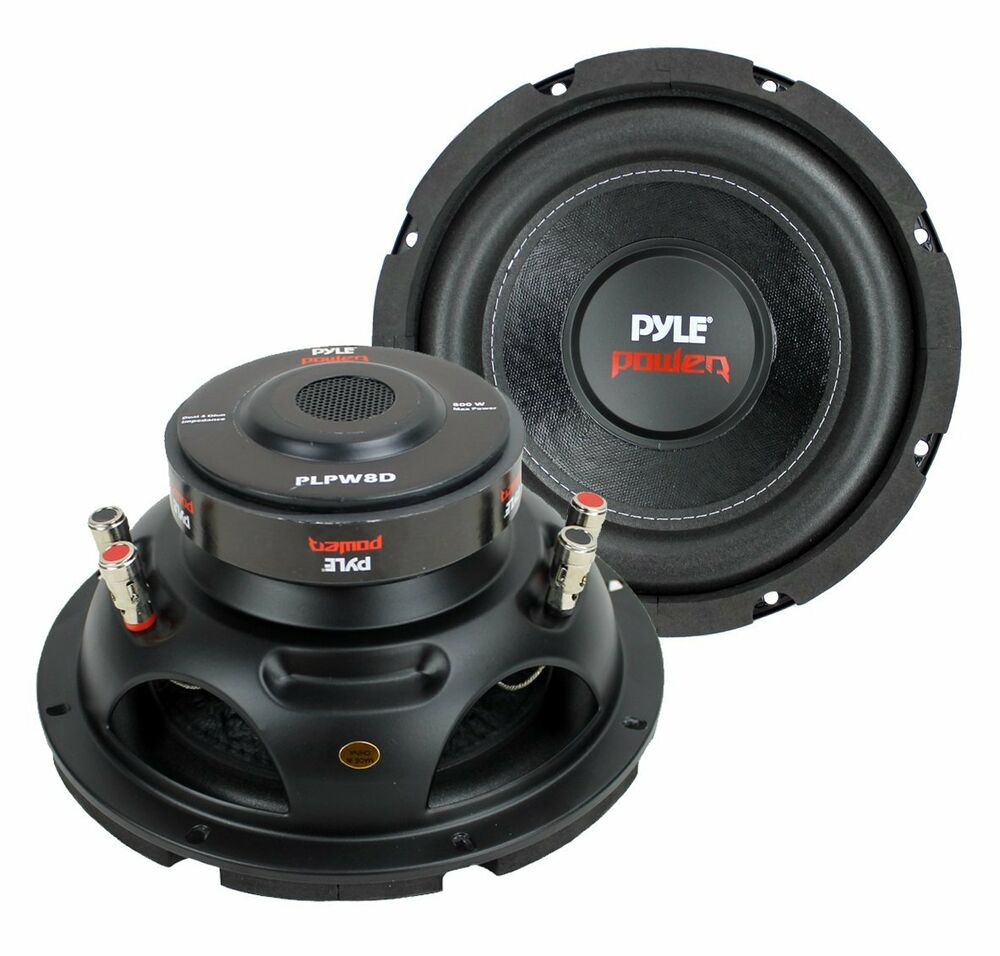 "Sub Speaker 8 Ohm 2) Pyle Plpw8d 8"" 1600w Dual Voice Coil 4-ohm Car Audio"
