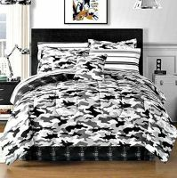 Black Gray Camouflage Camo Army Boys Twin Comforter Set (6