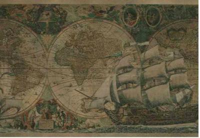 Wallpaper Border Old World Vintage Antique Looking Maps and Ships | eBay