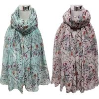 Ladies Womens Voile Long Cute Bird Branch Print Scarf ...