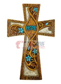 Hope Turquoise Floral Decorative Wall Hanging Cross Wood ...