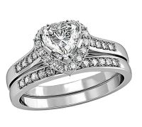 1.80 Cttw Heart CZ Women's Stainless Steel Wedding Ring ...