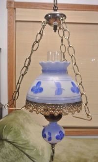 Vintage Ceiling Swag Milk Glass Hanging Lamp with Blue ...