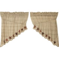 ABILENE STAR Prairie Swag Window Treatment Applique Dark