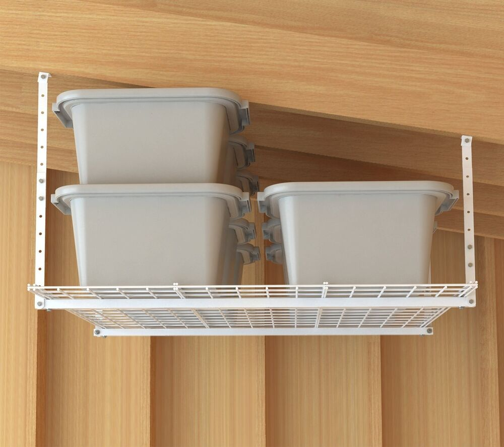 Storage Shelf Ceiling Garage Overhead Wire Raises Rack