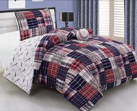 3 Piece Baseball Sports Theme Plaid Red White and Blue ...