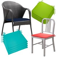 Set Of 4 Outdoor Memory Foam Chair Cushions Seat Pads Ties ...