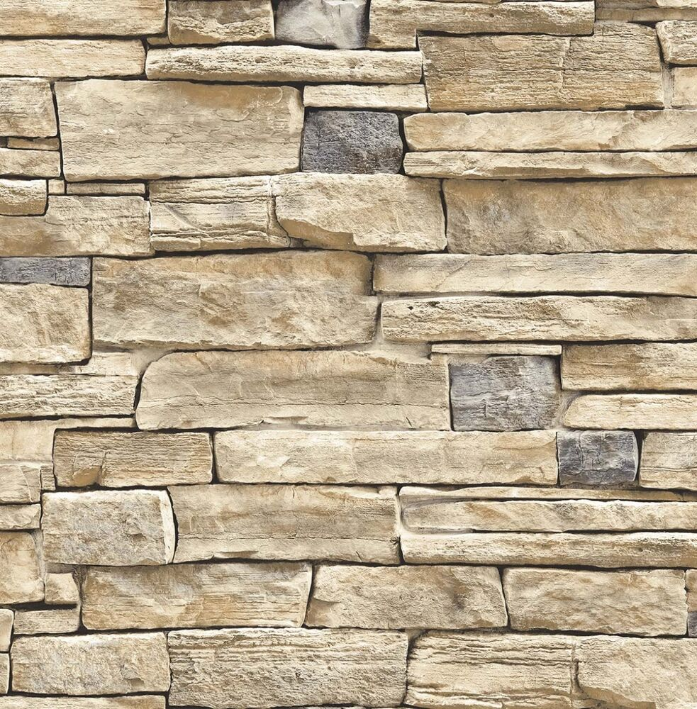 3d Brick Wallpaper Uk Wallpaper Faux Smooth Stacked Rock Stone Beige Tan