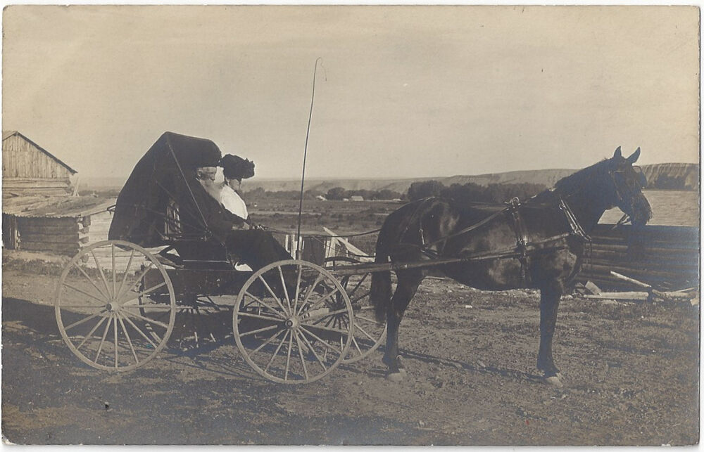 Mountain Buggy Ebay Rppc Old Couple In Horse Drawn Carriage Unposted With