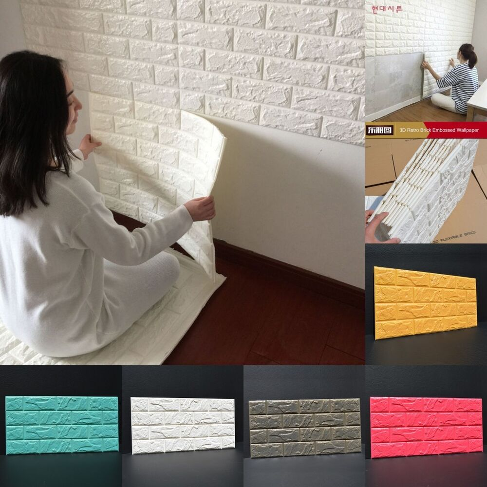 3d Effect Stone Brick Wall Textured Vinyl Wallpaper Self Adhesive 100pcs 3d Foam Stone Brick Self Adhesive Wallpaper Diy