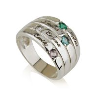 Mothers Ring Engraved Birthstone Ring 4 Stones Ring