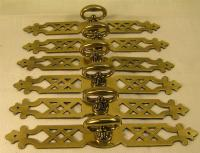 "5 Vintage Style Brass Handles Pulls Knobs 6"" long Cabinet ..."