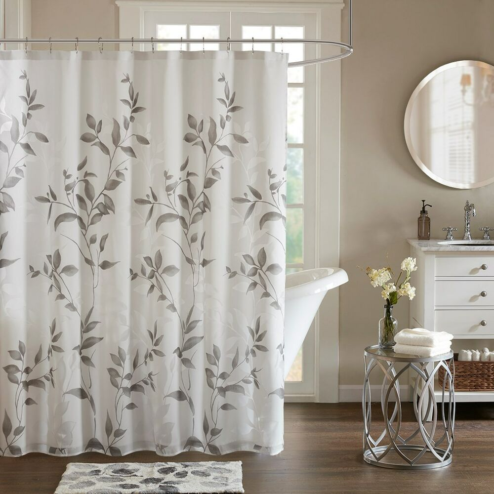 Cottage Shower Curtain Botanical Shower Curtain With Liner Cottage Gray White Floral Elegant Grey 675716969332 Ebay