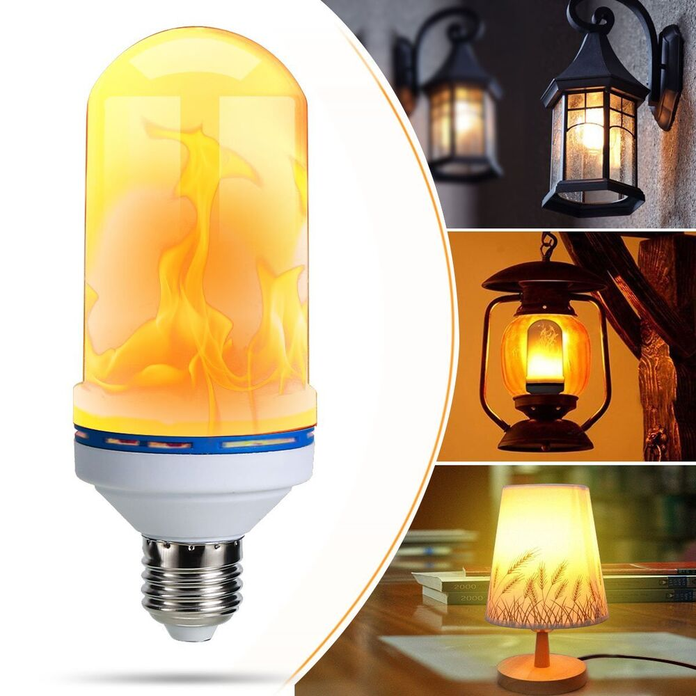 Flame Led Lamp E27 E27 Led Burning Flicker Flame Effect Fire Light Bulb Decorative Lamp Warm White Ebay