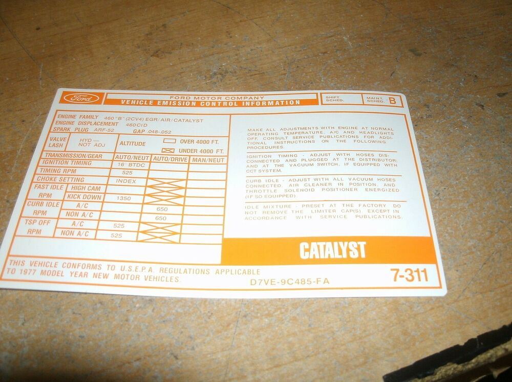 1977 LINCOLN TOWN CAR CONTINENTAL MARK V 460 CID EMISSIONS DECAL