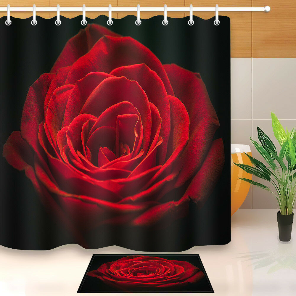 Red And Black Shower Curtain Set Red Rose Shower Curtain 12 Holes Set 72x72