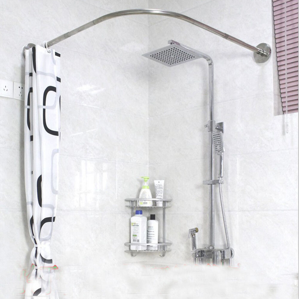 Curved Shower Curtains Rods Adjustable Curved Shower Curtain Rod 17 24inch Bath Tub Bathroom Rail Hanger Ebay