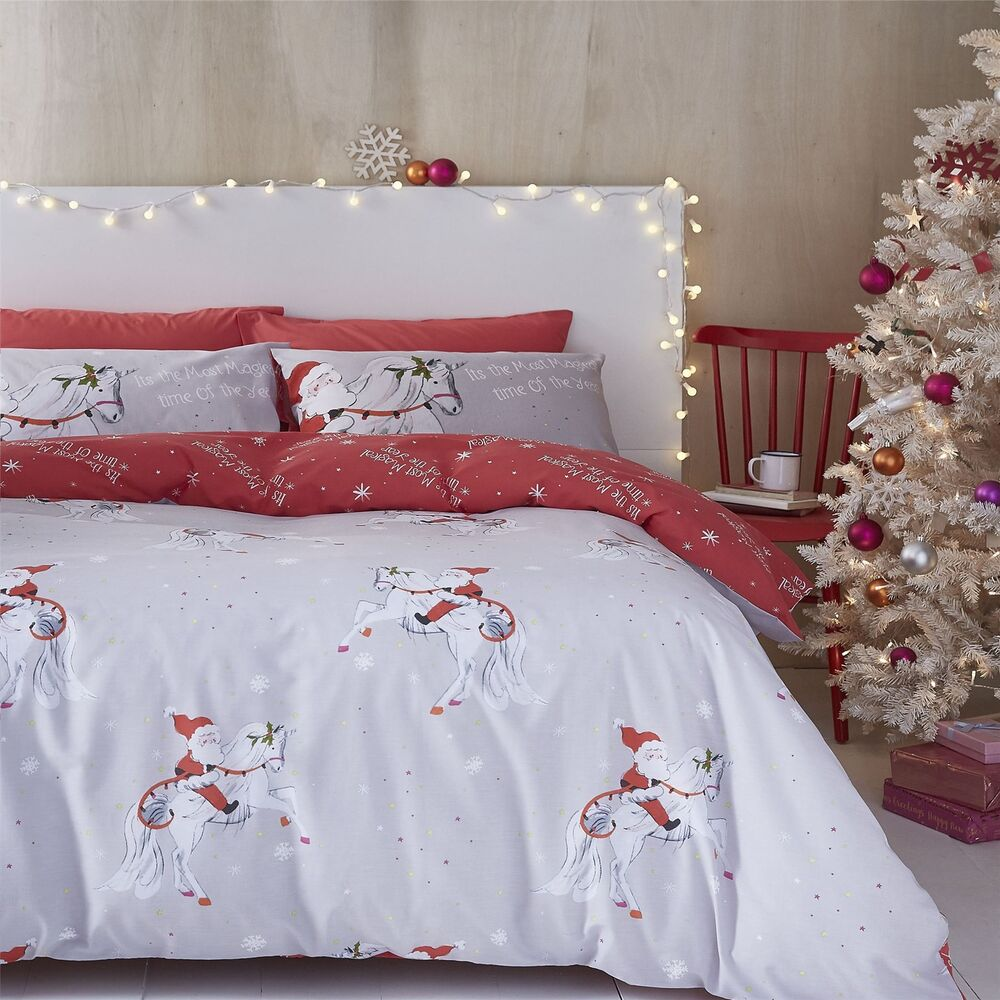 Catherine Lansfield Christmas Bedding Catherine Lansfield Christmas Unicorn Easy Care King Size Duvet Set Grey 5057681022352 Ebay