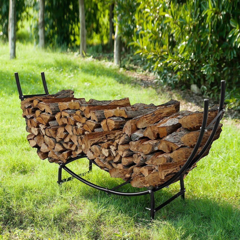 Outdoor Firewood Rack Metal Firewood 5 Foot Curved Log Rack 5 Ft Indoor Outdoor Wood Lumber Storage Ebay
