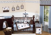 Celestial Blue and White Star Moon Themed 9p Baby Boy Crib ...