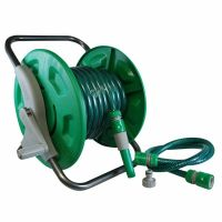 15M GARDEN HOSE PIPE WALL REEL NOZZLE & FITTINGS SET ...