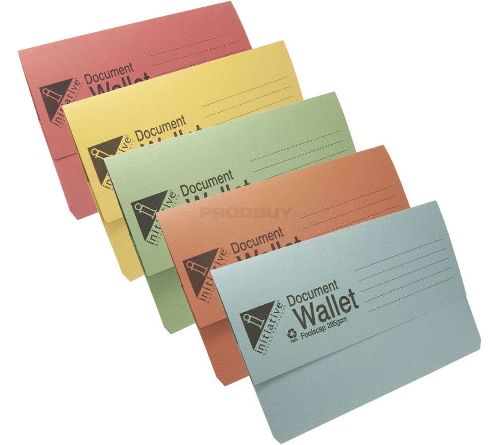 30 X Foolscap Document Wallets 285gsm Thick Card Assorted