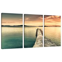Set of Three Panel Teal Canvas Wall Art Pictures ...