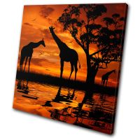 Animals Giraffe African Sunset SINGLE CANVAS WALL ART
