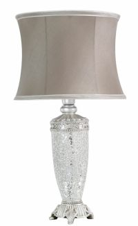 Tall Silver Mosaic Table Bedside Lamp Light w Dark Taupe ...
