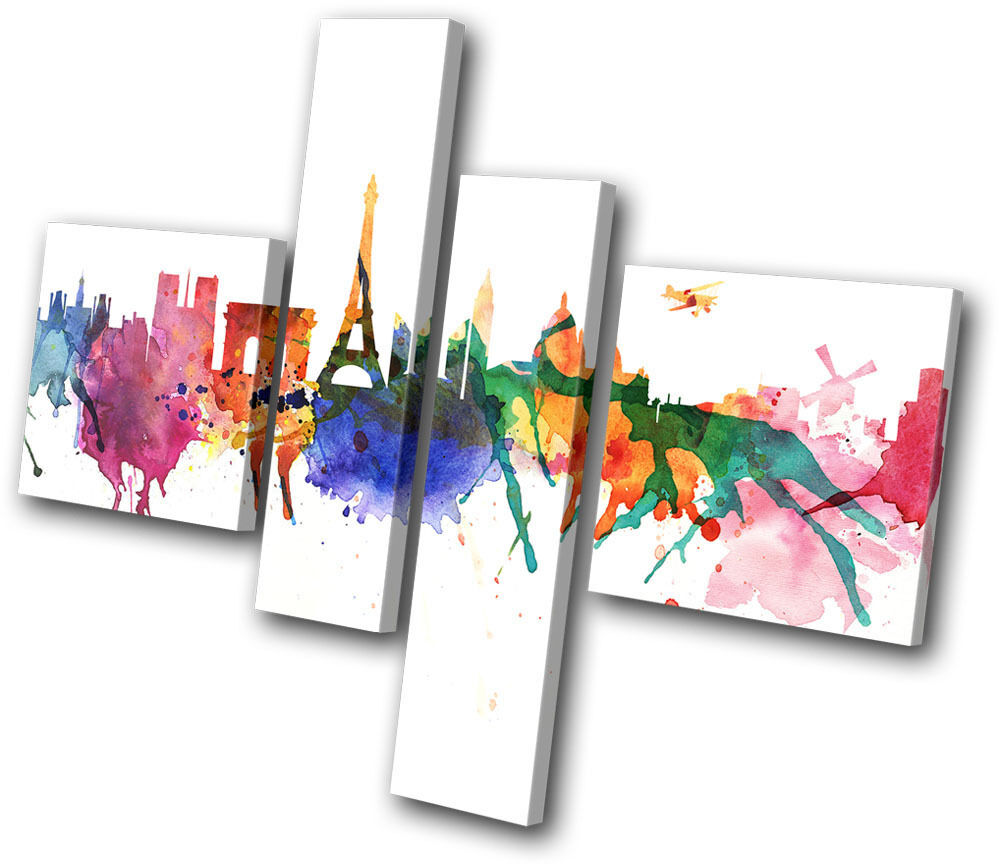 City Paris Watercolour Abstract MULTI CANVAS WALL ART
