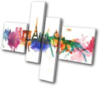 City Paris Watercolour Abstract MULTI CANVAS WALL ART ...