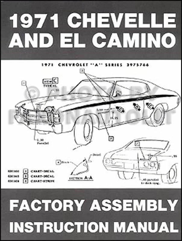 1971 Chevelle Factory Assembly Manual 71 SS and El Camino Monte