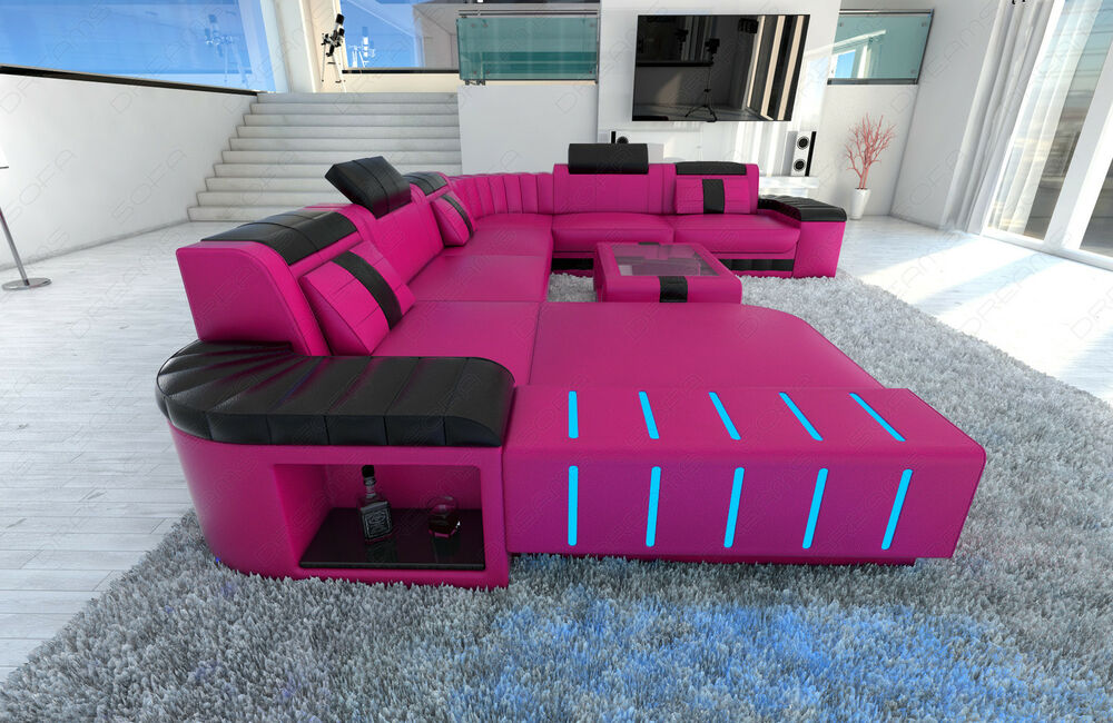 Couch Xxl Xxl Sectional Sofa Bellagio Led U Shaped Pink Black | Ebay