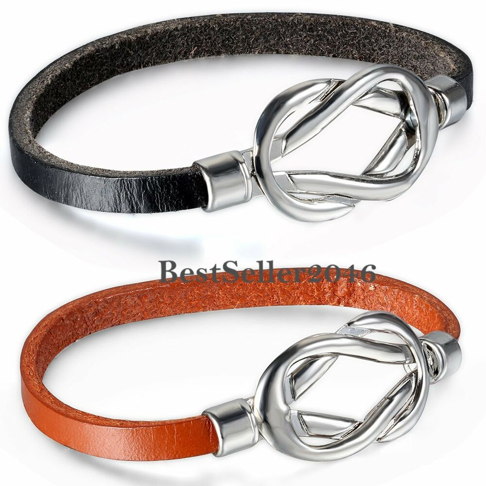 Love Infinity Knot Symbol Buckle Leather Women39s Girls