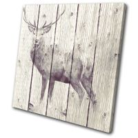 Painting Vintage Stag Deer Animals SINGLE CANVAS WALL ART ...