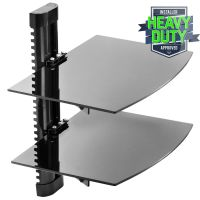 Floating Wall Mount 2 Shelf AV DVD Component Console Glass