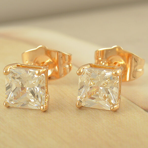 Cool 14K Yellow Gold Plated Clear Crystal Womens Mens