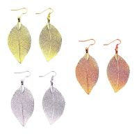 Real Dipped Leaf Dangle Earrings - Yellow Gold, Rose Gold ...