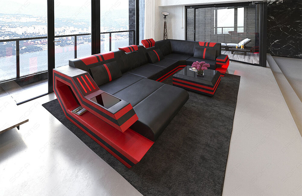 Sofa Led Leather Sectional Sofa Ravenna U Shape Corner Sofa + Led