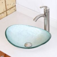 ELITE Unique Oval Silver Glass Bathroom Vessel Sink