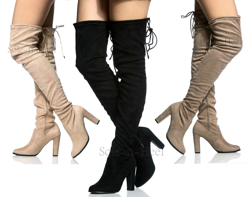 Womens Ladies Suede Over The Knee Thigh High Block Heel