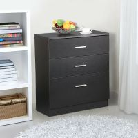Black Wood 3 Drawer File Storage Cabinet Office Filing ...