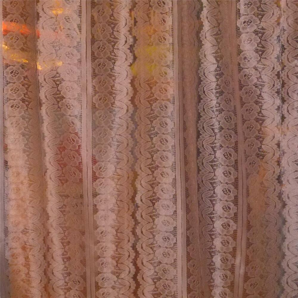 How Many Yards Of Fabric For Curtains Vintage Lace Fabric Floral Motif Rosey Tan Curtains Apparel 1 1 2 Yards Ebay
