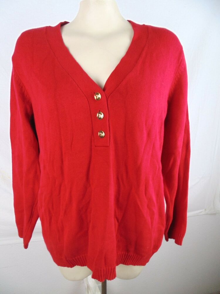 Charter Club Red V-Neck Long Sleeve Button Sweater Womens Plus Size