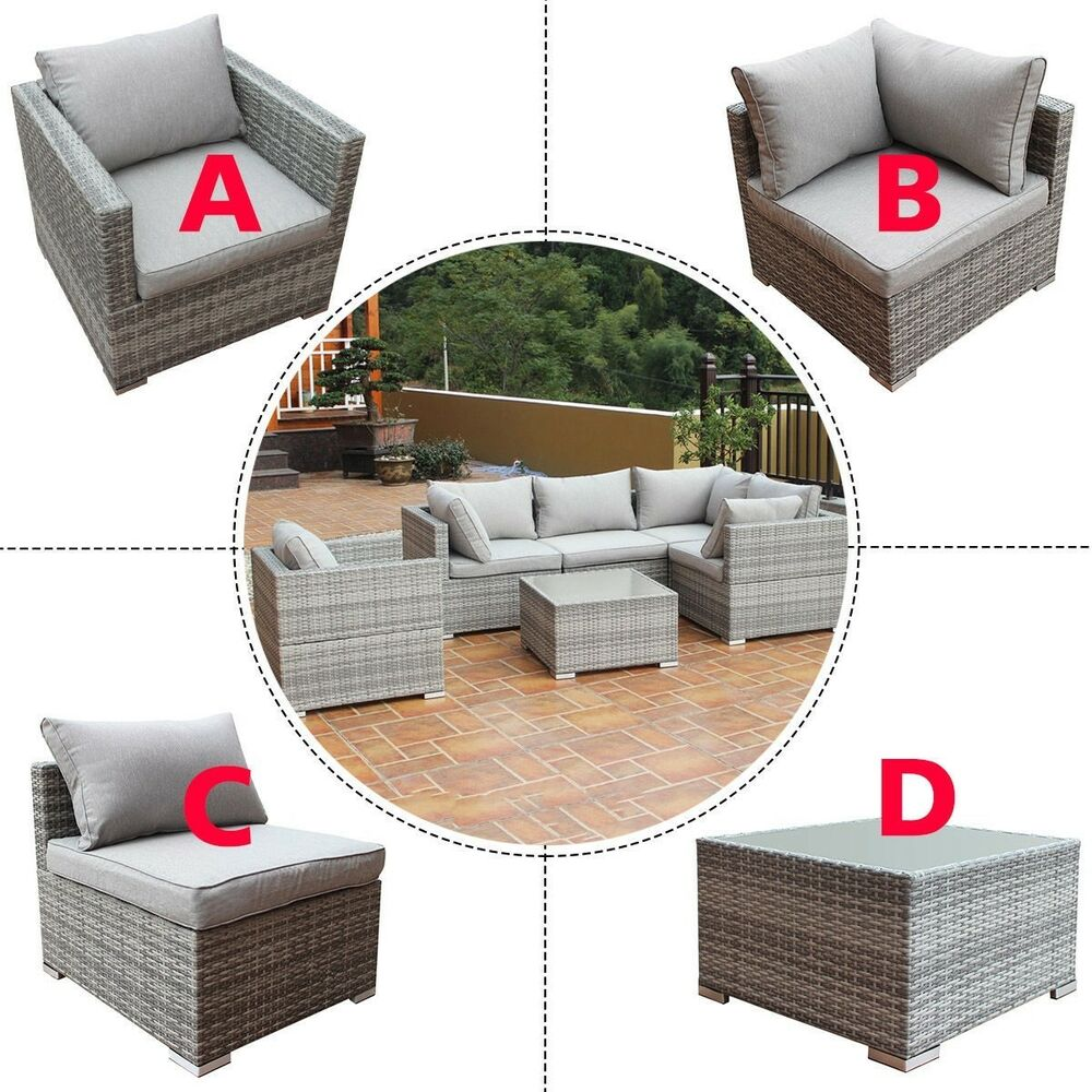 Rattan Sofa Near Me Patio Combination Cushioned Pe Wicker Sofa Furniture Set Us Ebay