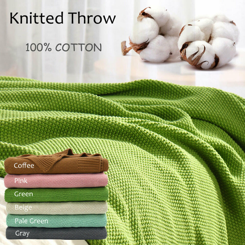 Decorative Sofa Throws Blankets Large Throw Soft 100 Cotton Knit Blanket Thick Knit Throw Bed Sofa Decorative Ebay