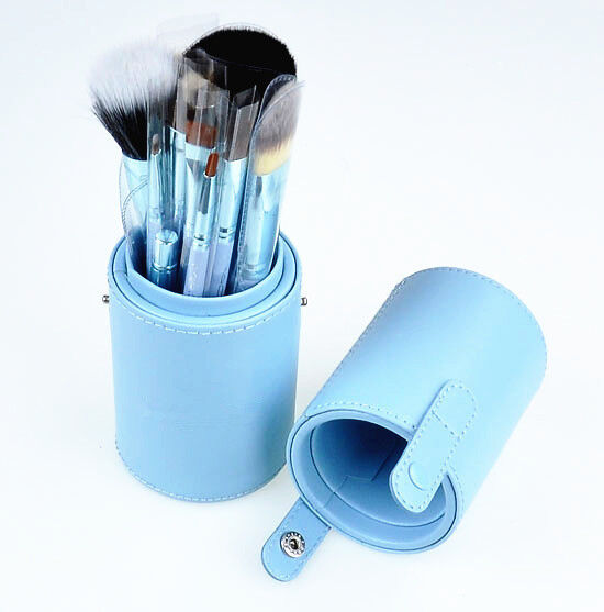 12pcs Pro Cosmetic Makeup Brush Set Leather Cup Holder