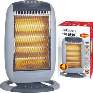1600w 4 Bar Portable Electric Oscillating Heater Halogen