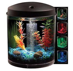 Details about 2 Gallon Round Starter Aquarium Fish Tank Kit   LED